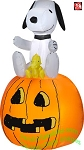 3 1/2' Gemmy Airblown Inflatable Halloween Snoopy Sitting On Pumpkin