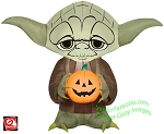 3 1/2' Airblown Inflatable Yoda Holding Pumpkin