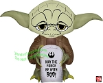 3 1/2' Gemmy Airblown Inflatable Star Wars Jedi Yoda Holding Tombstone