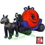 12' Gemmy Airblown Inflatable Fire & Ice Reaper Pumpkin Carriage Scene