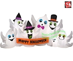 9' Gemmy Airblown Inflatable Happy Halloween Ghost Party Scene