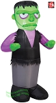 3 1/2' Gemmy Airblown Inflatable Green Monster w/ Black Vest