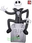 3 1/2' Gemmy Airblown Inflatable Nightmare Before Christmas Jack Skellington On Tombstone
