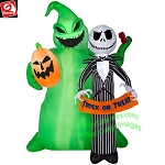 6 1/2' Gemmy Airblown Inflatable Nightmare Before Christmas Jack Skellington w/ Oogie Boogie
