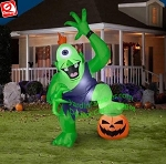 10' Gemmy Airblown Inflatable Giant Halloween Ogre w/ Foot on Pumpkin