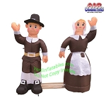 4' Air Blown Inflatable Thanksgiving Pilgrim Amish Man & Woman