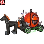 11 1/2' Gemy Airblown Inflatable Fire & Ice Skeleton Pumpkin Carriage Scene