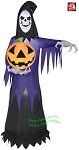 7' Gemmy Airblown Inflatable Grim Reaper Holding A Jack-O-Lantern
