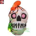 5 1/2' Gemmy Airblown Inflatable Skull With Spiders Scene