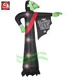 12' Gemmy Airblown Inflatable Pointing Vampire With Halloween Sign