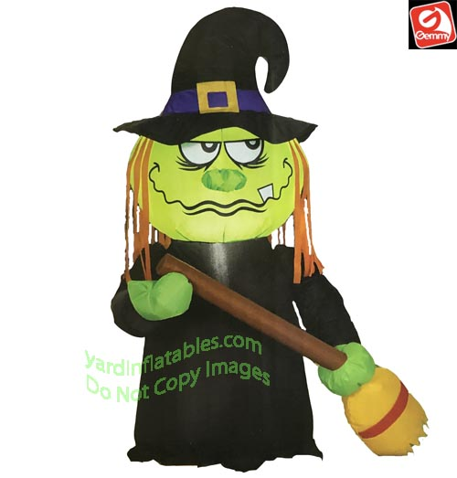 3 1/2' Airblown Inflatable Stumpy Witch w/ Broom
