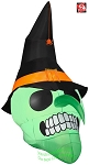 6' Gemmy Airblown Inflatable Green Witch Skull