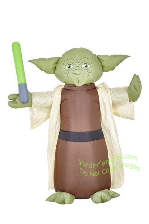4' Air Blown Inflatable Star Wars Jedi Yoda Holding Light Saber
