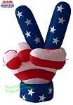 4' Air Blown Inflatable Patriotic USA Peace Hand