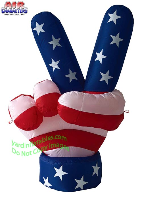 6' Air Blown Inflatable Patriotic USA Peace Hand