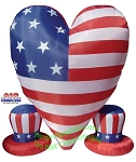 6' Air Blown Inflatable Patriotic Heart With 2 Small Hats