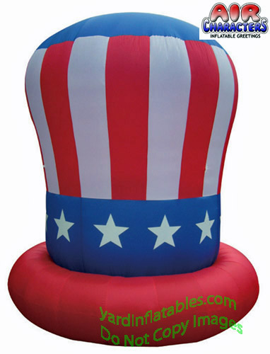 10' Air Blown Inflatable Patriotic Uncle Sam Hat Red Brim