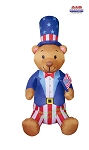 8' Air Blown Inflatable Patriotic Bear w/ Top Hat and Flag