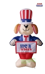 6' Air Blown Inflatable Patriotic Dog w/ Banners