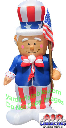 8 1/2' Air Blown Inflatable Patriotic Uncle Sam with Flag