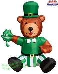 6' Air Blown Inflatable St. Patrick's Day Teddy Bear w/ Shamrock