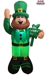6' Air Blown Inflatable St. Patrick's Day Leprechaun Holding Shamrock