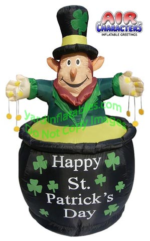 6' Air Blown Inflatable St. Patrick's Day Leprechaun In Pot w/ Coins