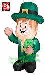 3 1/2' Gemmy Airblown Inflatable St. Patrick's Day Leprechaun Standing Holding Clover