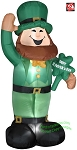 6' Gemmy Airblown Inflatable St. Patrick's Day Leprechaun Standing Holding Sign