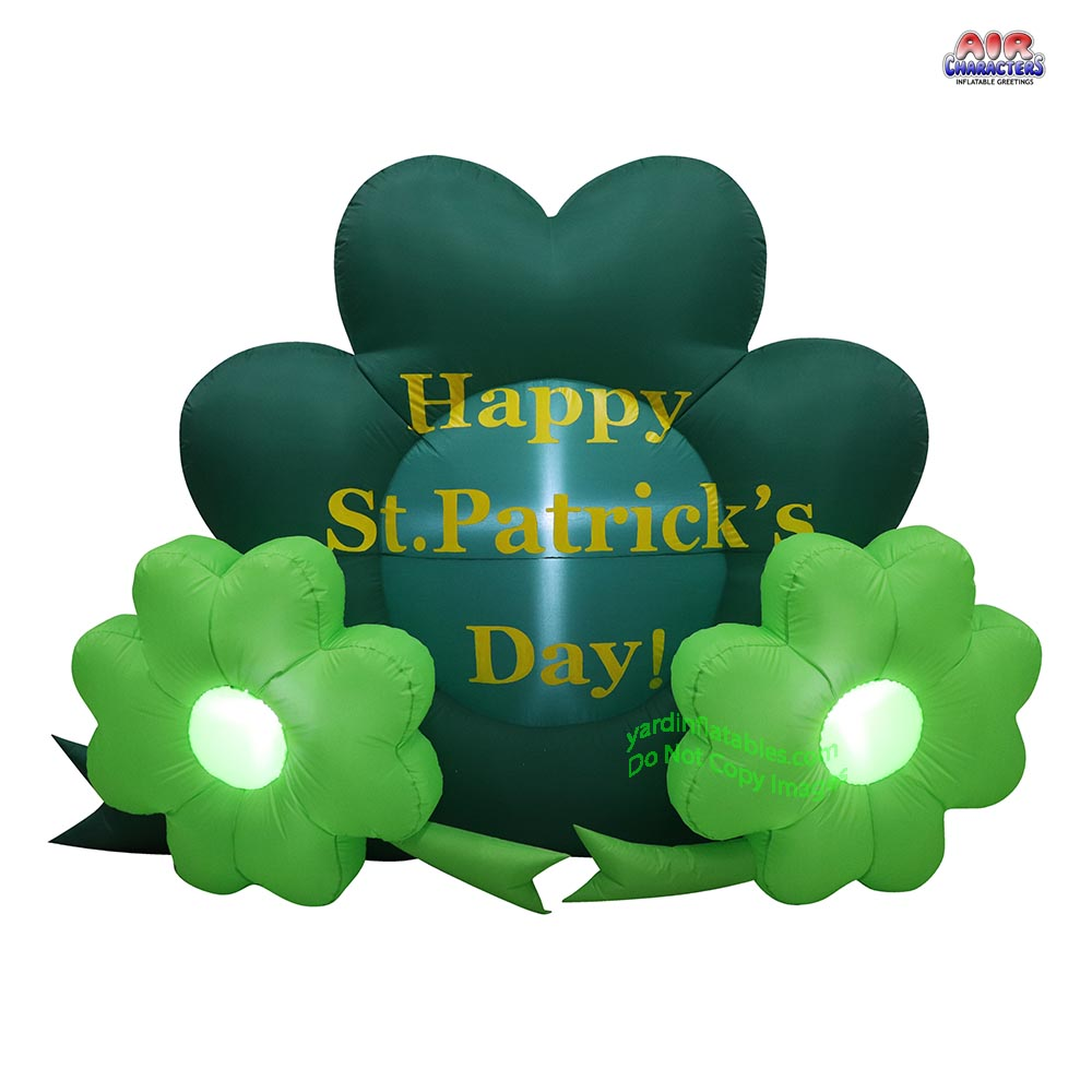5' Air Blown Inflatable Happy St. Patrick's Day Shamrocks
