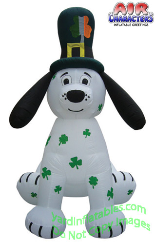 8' Air Blown Inflatable St. Patrick's Day Puppy w/ Shamrock Spots