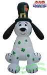 8' Inflatable St. Patrick's Puppy Shamrock Spotted