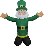 6' Air Blown Inflatable St. Patrick's Day Leprechaun With WHITE Beard