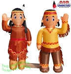 5' Air Blown Inflatable Thanksgiving Indian Boy and Girl Combo