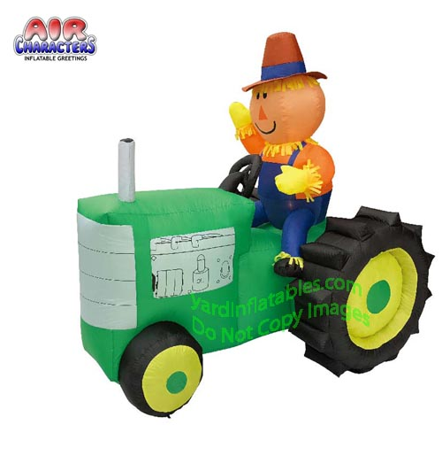 6 1/2' Air Blown Inflatable Scarecrow on GREEN Tractor