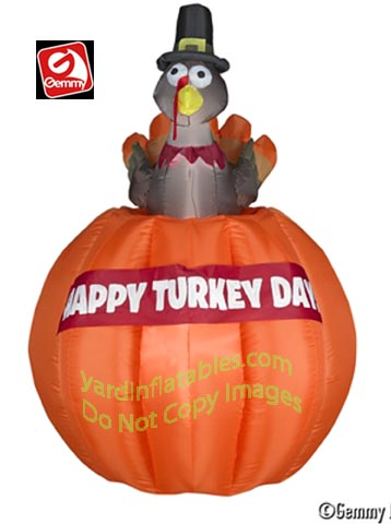 4 1/2' Gemmy Airblown Animated Inflatable Turkey Rising Out Of Pumpkin