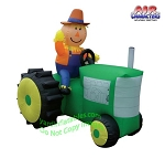 6 1/2' Inflatable Scarecrow on GREEN Tractor