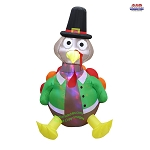 5' Air Blown Kaleidoscope Inflatable Turkey in Pilgrim Outfit