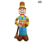 7 1/2' Air Blown Inflatable Scarecrow w/ Pumpkin and Broom