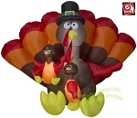 8 1/2' Gemmy Airblown Inflatable Thanksgiving Turkey Family Scene