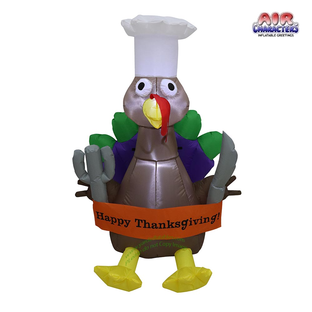 4' Air Blown Inflatable Thanksgiving Turkey Chef w/ Banner