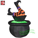 5' Gemmy Airblown Inflatable Animated Witch Legs Kicking In Cauldron