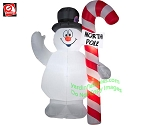 5 1/2' Gemmy Airblown Inflatable Frosty With North Pole Sign On Candy Cane