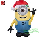 3 1/2' Gemmy Airblown Inflatable Minion STUART Wearing Santa Hat