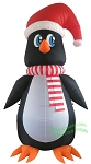 20' Air Blown Inflatable Penguin Wearing Santa Hat
