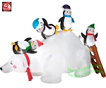 6 1/2' Gemmy Airblown Inflatable Penguins On Polar Bear Slide Scene