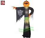 12' Gemmy Airblown Inflatable Pumpkin Reaper Pointing With Halloween Sign