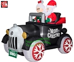 5 1/2' Gemmy Airblown Inflatable Santa & Mrs. Claus In An Antique Car