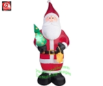 9 1/2' Gemmy Airblown Inflatable Mixed Media Plush Old World Santa