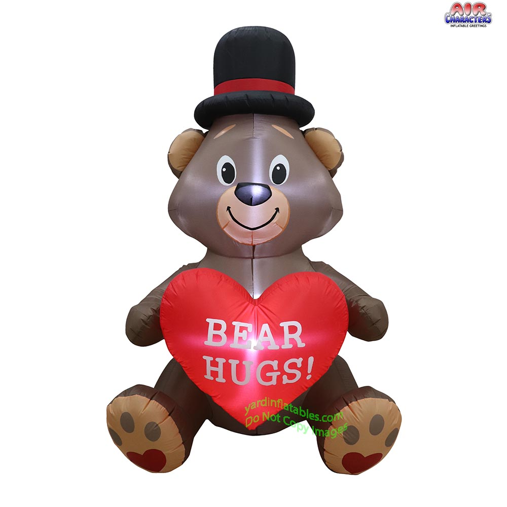 6' Air Blown Inflatable Valentine's Day Bear holding Heart